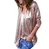 FORH Damen Fashion Pailletten Blusen Elegant Einfarbig Unregelmäßige Langarmshirt Strickjacke Oversize Lose Oberteil Outwear Tops (Rosa, XXL)