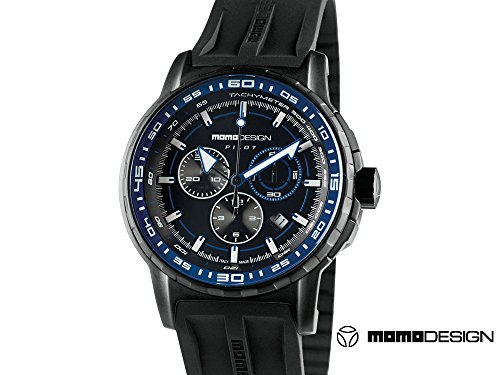Momo Design Pilot Pro Crono Quarzo Quarzt Uhr, PVD, 46mm., 5 atm., MD2164BK-21