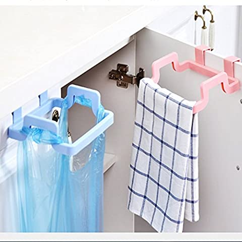 Creative Kitchen Hanging Plastic Rubbish Bags Holder Cupboard Trash Bag Holder,Cabinet Tailgate Style of Storage Garbage Bag Bracket (Pack of 2,Random