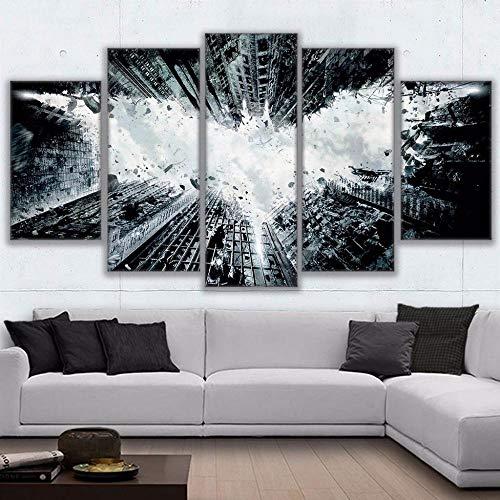 Sanzx Wandbild, bedruckt, modern, Dekoration zu Hause, Kunstleinwand, 5 Panel, Batman, abstrakt, für Wohnzimmer, Modular, Bild ohne Rahmen, 30 x 40 x 2, 30 x 60 x 2, 30 x 80 cm
