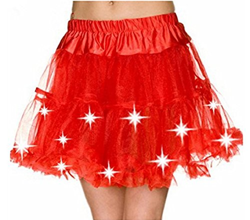 Damen Weihnachten Halloween Party Eine Linie Ballett Tütü Mini Rock mit LED Party Kurz Glam Gothic Vintage Petticoat Tanzkleid Ballett Licht Glam Gotik Tüll Tanz Rock (Einheitsgröße, Rot)
