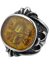 MunkiMix Acero Inoxidable Anillo Ring Negro Plata Oro Dorado Dos Tono La Flor De Lis Pirata Cráneo Calavera Hombre