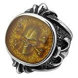 MunkiMix Acero Inoxidable Anillo Ring Negro Plata Oro Dorado Dos Tono La Flor De Lis Pirata Cráneo Calavera Talla Tamaño 25 Hombre