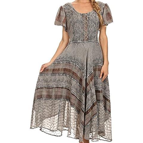 Sakkas Mila lungo corsetto ricamato vestito con manicotto protezione vita regolabile