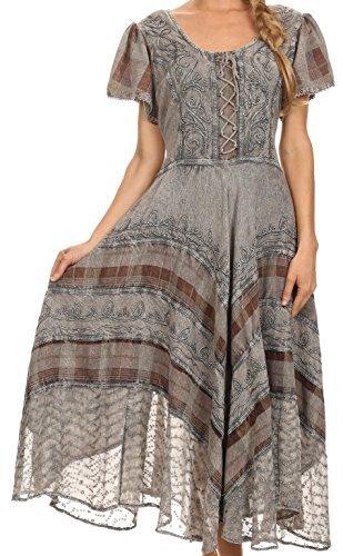 Sakkas 15323 - Mila Lange Korsett gestickte Kappe Ärmel Kleid mit verstellbarem Taillen - Grau - S/M (Gypsy Thread)