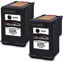 OfficeWorld Remanufacturados HP 62XL 62 Cartuchos de tinta Negro Compatible con HP Envy 5540 5544 5546 5640 5642 5644 7640 5646 5542, HP OfficeJet 200 5740 5742 5744 Impresora
