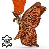 Monkimau Schmetterling-e Leder Schlüssel-anhänger Deko-Figur Charm-s 3D Flügel Kinder Geschenk Kuscheltier Plüschtier Stofftier schwarz braun rot 5cm