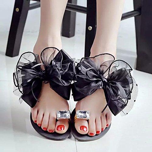 ZYUSHIZ Bow Tie Hausschuhe synthetischer Diamant den minimalistischen Stil Ziehen Sie T 40EU