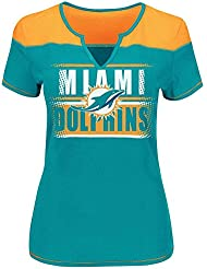 """Miami Dolphins Women's Majestic NFL """"Football Miracle"""" Fashion T-shirt"""