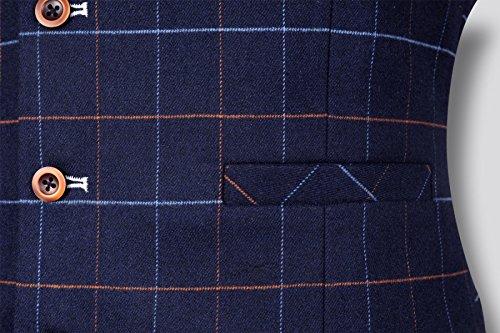 Abito Gilet Nero Blu Da Uomo Slim Business Casual Large Size Gilet Primavera Blue