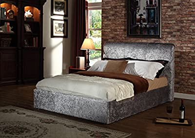 "4ft6"" Double Rome Crushed Velvet Fabric Upholstered Bed Frame New 2016 In Silver produced by bed room - quick delivery from UK."