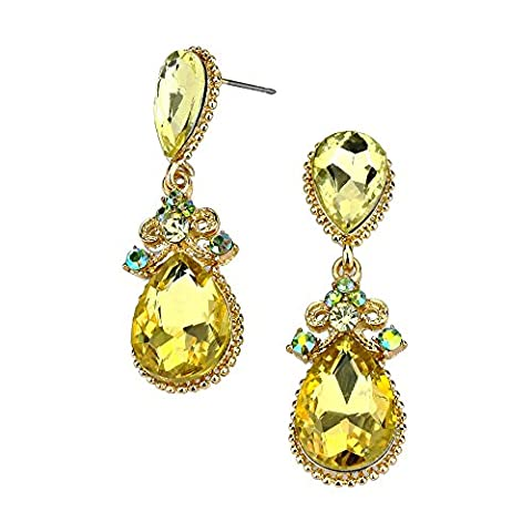 Sparkly Jonquil lemon diamante crystal teardrop earrings