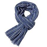 Fenverk Herren Luxus Italienisch Inspiriert Stilvoll Warm Gestrickt Gestreift Winter Schal EinheitsgrößE MäNner Klassisch Franse Einfarbig Quaste Lange Weich Mit Quasten Schals(Blau)