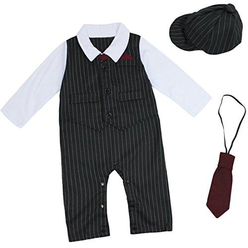 iEFiEL Kinder Baby Kleinkind Junge Kleidung Bodysuit Anzug Strampler Overall Gentleman Taufe Hochzeit 3-24 Monate (74-80 (Herstellergöße:80), Schwarz) (Schwarz Anzug Gestreifter)