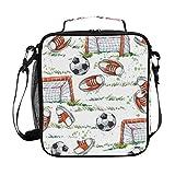 Hunihuni Wasserfarbe, Fußballtormuster, isoliert, Lunchbox mit verstellbarem Schultergurt für Erwachsene und Kinder