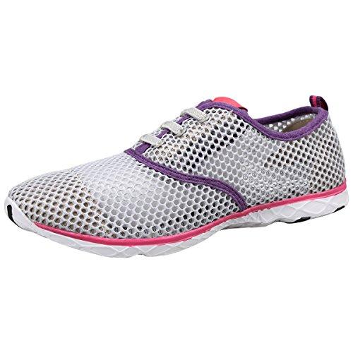 QIMAOO Chaussure de course fitness été respirante estival Sport Aquatique en été plage et randonnée Sabots Chaussures Shoes pour les adultes Mixtes Gris violet