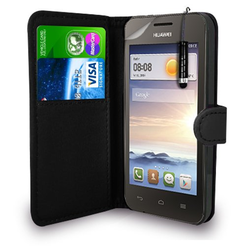 Huawei Ascend Y330 - Leder Geldbörse Flip Hülle Tasche + Mini Stylus Pen + Display Schutzfolie & Poliertuch (Schwarz)