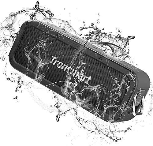 Tronsmart Force Bluetooth Lautsprecher, 40W Tragbarer Kabelloser Lautsprecher mit Dual Treiber Bass, 3D-Stereo, 15h Spielzeit, 20m Reichweite, IPX7 Wasserfest, Eingebauten Mikrofo, TWS, NFC- Schwarz