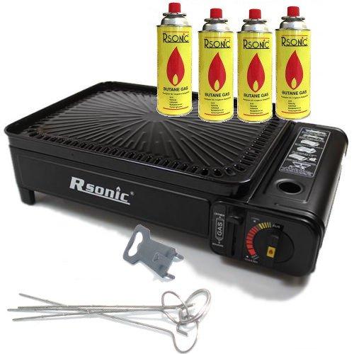 Rsonic Schwarz Gasgrill mit Grillrost und Grillplatte + 4x gas kartuschen ★ geeignet für Garten, Terrasse, Picknick, Ersatz Ofen bei Stromausfall, Camping usw.