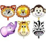 GuassLee JUNGLE ANIMAUX TÊTE BALLONS - 6pcs 22 Pouces Géant Animal Ballons Kit Pour...
