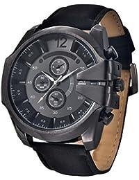 timelyo® Herrenuhr Damen Watch Quartz Replica Armband Leder schwarz neu