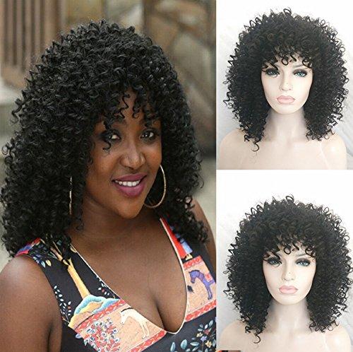 royalvirgin synthetischen lockiges Afro-Perücken Hitzebeständig Billig Gelockt Perücken für Frauen Hochwertigem Synthetik (Perücken Afro Großhandel)