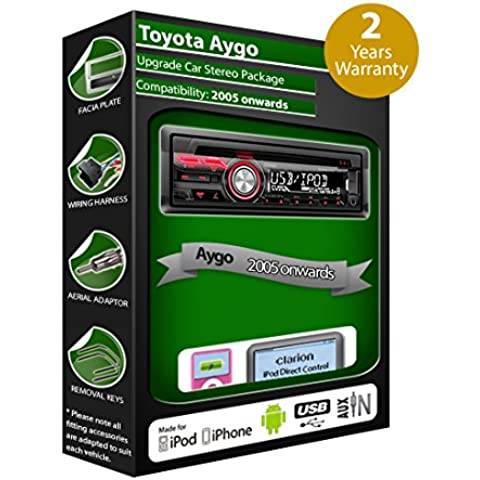 Toyota Aygo CD player car stereo Clarion USB radio play iPod iPhone Android kit