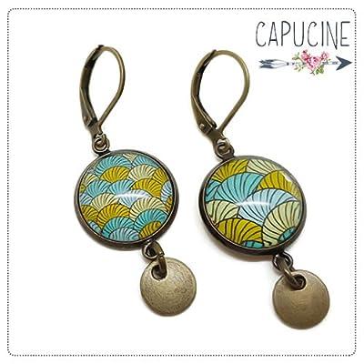 Boucles d'Oreilles Bronze Pendantes avec Cabochon en Verre Cercles Spirales Turquoise, Jaune et Vert