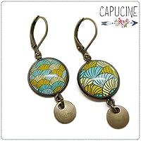 Boucles d'oreilles pendantes avec cabochon cercles - Boucles d'oreilles dormeuses bronze - Cercles & Escargots