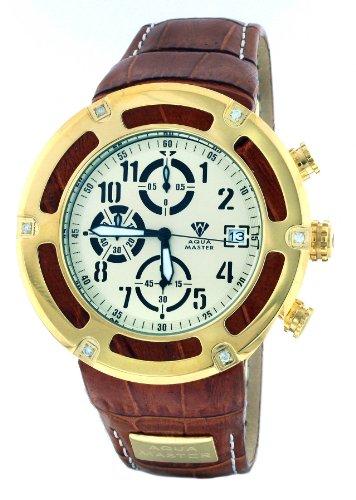 Aqua Master serie pirata de hombre y de piel color marrón de oro bisel 0,20ct Diamond Reloj W # 346