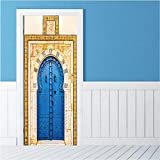 77X200 cm 2 Teile/Satz Kreative Blau Eisentor Wandaufkleber DIY Muralpvc Wasserdichte Tür Aufkleber Tapete Schlafzimmer Wohnkultur Poster