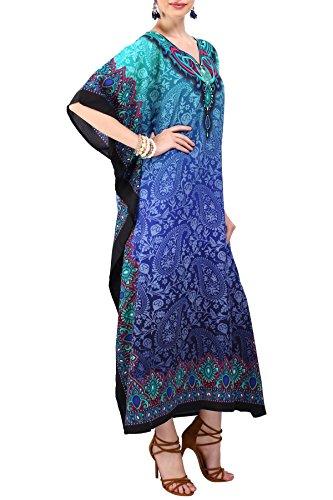 Miss Lavish London mujeres caftán de Londres túnica kimono libre tamaño largo vestido de fiesta para loungewear vacaciones ropa de dormir playa todos los días cubrir vestidos #101 [Azul EU 38-44]