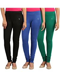 FlyColors Women's Cotton Churidar Leggings(Pack Of 3) - B0728HHGZX