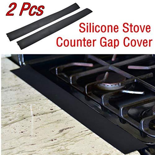 Counter-abdeckung (Premium Qualität 2 Stücke Küche Silikon Herd Counter Gap Abdeckung Easy Clean Hitzebeständige Spaltfüllung SchwarzCarry Stone)