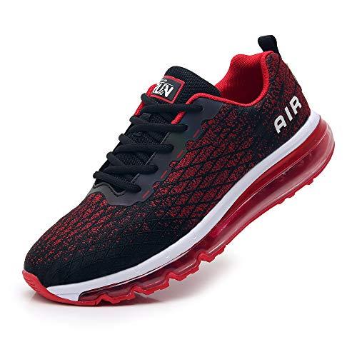 TORISKY Sneaker Herren Damen Sportschuhe Air Cushion Schuhe Laufschuhe Luftkissen Turnschuhe Fitness Gym Leichtes Bequem(8998-BK/Red42)