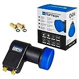 HB-DIGITAL Twin LNB Black Premium Schwarz Blau NUR 0,1 dB UNIVERSAL ! SEHR RAUSCHARM Opticum LTP-04H V2 + 2X vergoldete F-Stecker GRATIS DAZU