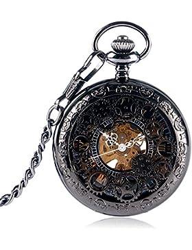 Herren-Taschenuhr, skelettiert, Schwarz, Steampunk-Zahnräder, römische Ziffern