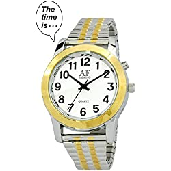 2nd GENERATION Talking Watch! Men s 2-Tone Alarm Day-Date low vision metal Talking Watch (TC-ATK358G-03)