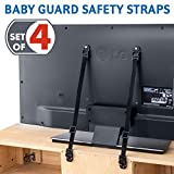 Tatkraft Protect Lacci di Sicurezza per Supporti TV/Antiribaltamento TV/Safety Straps per Bambini Anti-Ribaltamento 4 Pack, 2 Bianchi/2 Neri
