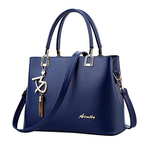 VJGOAL Damen Schultertasche, Frau oder Mutter Geschenk Damenmode luxuriöse Leder Crossbody Schulter Messenger Party Bag Handtasche (29*13*21cm, Blau) (Mädchen Weiße Handtasche)