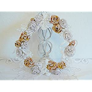 UNIKAT handmade Reizender Blütenkranz 'Altrosé und Creme' Blumenkranz Türkranz Tischdeko