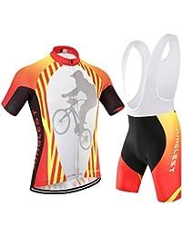 [traje[tirante blancas] tamaño:L] Ropa Mecha bicicleta Trajes cortas Respirable Ciclismo Acolchado rápido de culotte Maillot libre cómoda ciclistas Mangas Jersey jerseys