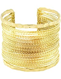 The Jewelbox Party Statement Mesh Imported 18K Gold Free Size Cuff Kada Bangle Bracelet For Girls Women