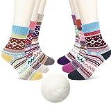 Gifort Calze da donna in lana, comode calze invernali vintage, morbide calde colorate spesse traspiranti - 6 paia