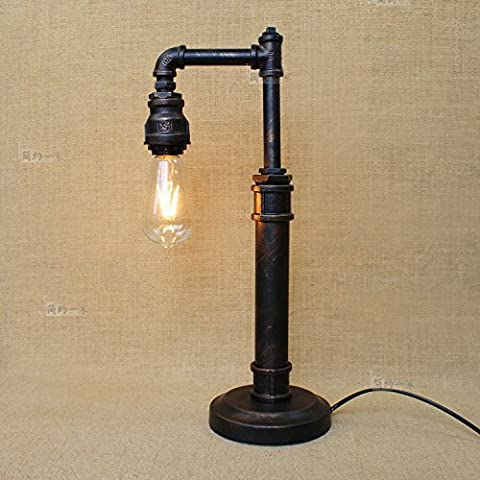 Modeen Industrial Lamp Five Styles Black Sturdy Water Pipe Style Table Lamp Bedside Study Room Bedroom Library Hotel Desktop Lamp Iron Tube Base Living Room Farmhouse Restaurant Bar Desk Light ( Size : E