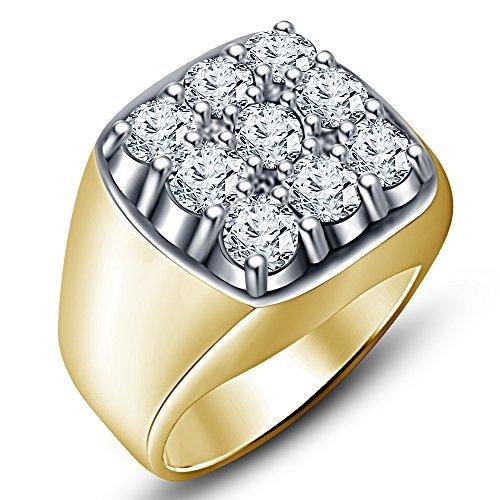 Placcati oro 14 k, argento Sterling 925 e zirconia cubica, RD-Gioielleria da uomo tra Vorra (Oro Giallo Mens Wedding Band)
