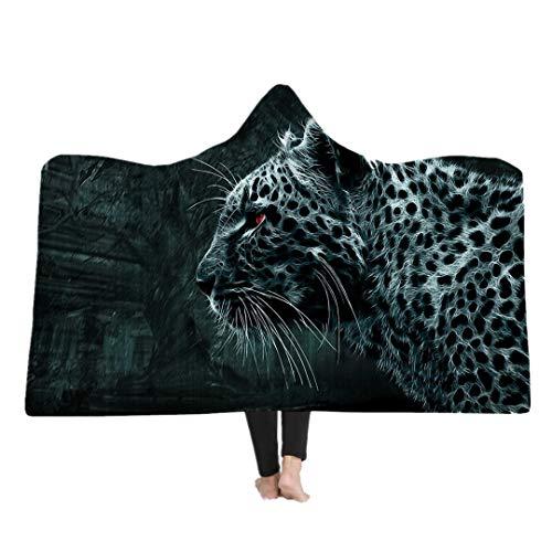Stillshine 3D Tiere Decke Kapuzendecke für Erwachsene Kind Microfaser Flanell Decke,Kuscheldecke Wearable/Sherpa-Decke/TV Decke/Klimaanlage Decke/Sofa Decke/Reisedecke (Leopard, 150 * 200 cm)