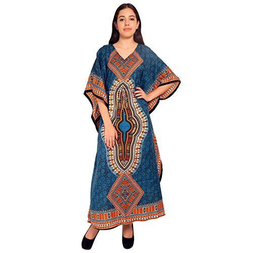 Frauen Strand Kaftan Kaftan Lounge tragen Hippie Boho Maxi Kimono Ärmel langes Kleid - blau -