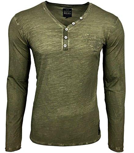 RUSTY NEAL Herren V-Neck Figurbetont Langarm Unifarben Longsleeve T-Shirt 10123 Grün