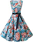 Bbonlinedress Women's Retro 1950s Vintage Swing Rockabilly Party Cocktail Dress Blue Red Flower S